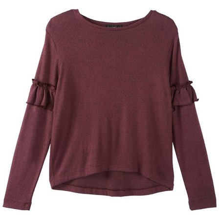 Derek Heart Juniors Ruffle Sleeve Heather Top