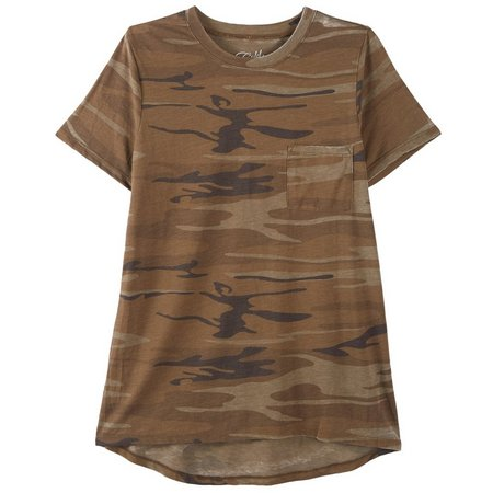 Hybrid Juniors Camo Print Chest Pocket T-Shirt
