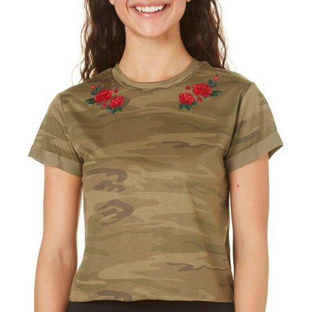 Hybrid Juniors Embroidered Rose Camo Print Crop Top