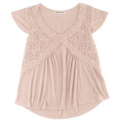 New! Wallflower Juniors Lace Flutter Sleeve Top