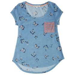 New! Wallflower Juniors Butterfly Print Top