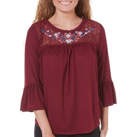 Almost Famous Embroidered Lace Yoke Top