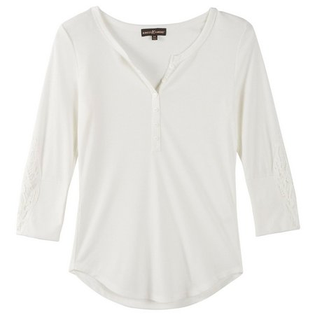 Almost Famous Juniors Ribbed Crochet Sleeve Top