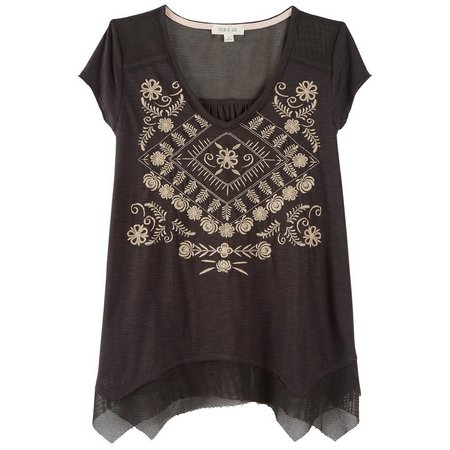 Taylor & Sage Juniors Embroidered Mesh Inset Top
