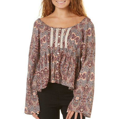 Derek Heart Juniors Paisley Medallion Babydoll Top