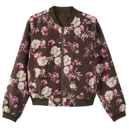 Pink Rose Juniors Floral Reversible Bomber Jacket