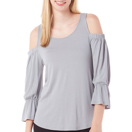 Pink Rose Juniors Cold Shoulder Bell Sleeve Top