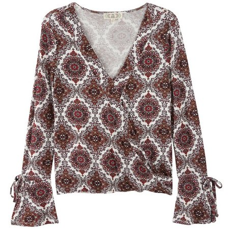 Pink Rose Juniors Floral Medallion Wrap Top