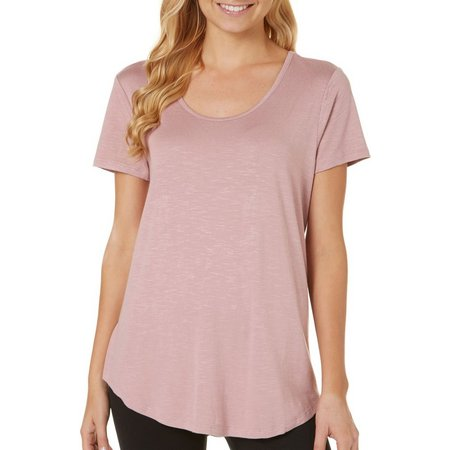 Pink Rose Juniors Solid Lace-Up Back Top