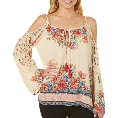 Angie Juniors Cold Shoulder Floral Crochet Top