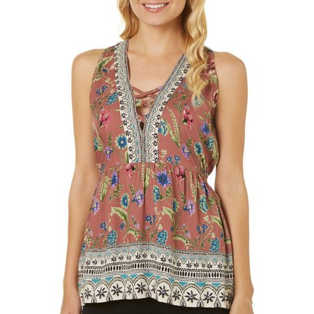 Angie Juniors Floral Peplum V-Neck Tank Top