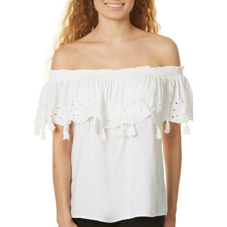 Dizzy Lizzy Juniors Off Shoulder Tassel Trim Top