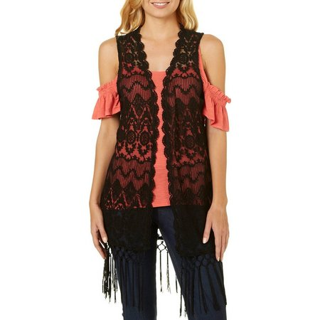 Say What? Juniors Sleeveless Open Front Crochet Lace