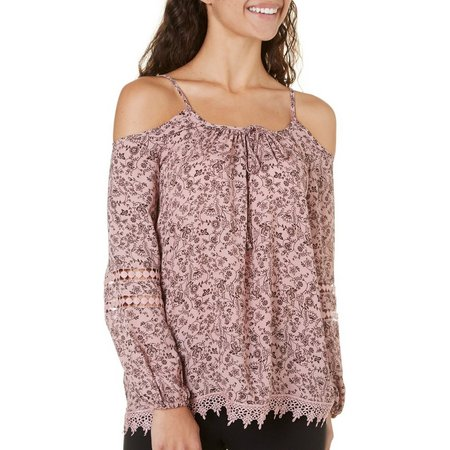 Penelope Juniors Floral Printed Crochet Inset Top