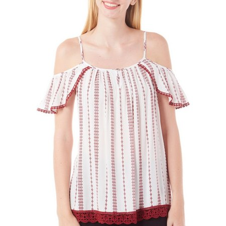 Tempted Juniors Printed Cold Shoulder Top