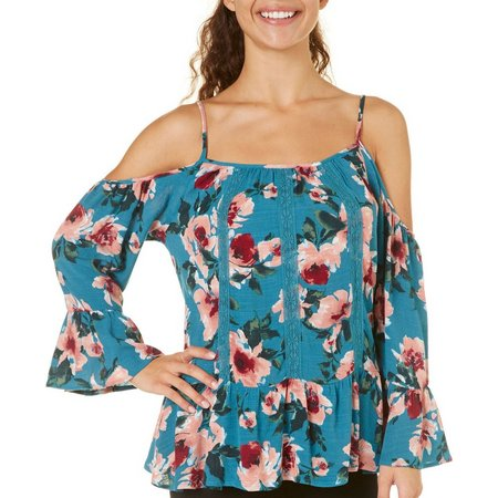 Be Bop Juniors Floral Print Cold Shoulder Top