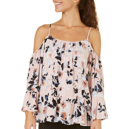 Be Bop Juniors Cold Shoulder Floral Print Top