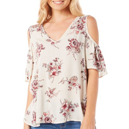 Be Bop Juniors Floral Flutter Sleeve Top