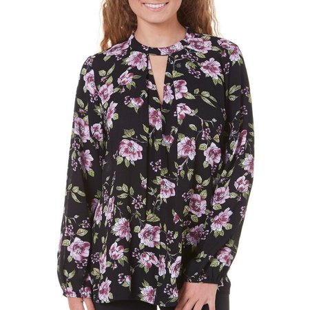 Be Bop Juniors Long Sleeve Floral Print Top