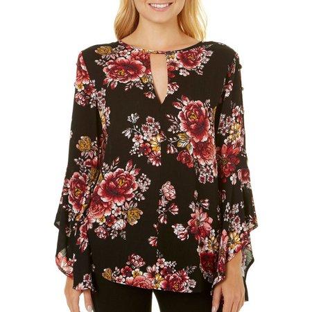Be Bop Juniors Floral Asymmetrical Bell Sleeve Top