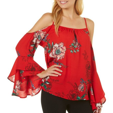 Be Bop Juniors Cold Shoulder Floral Long Sleeve