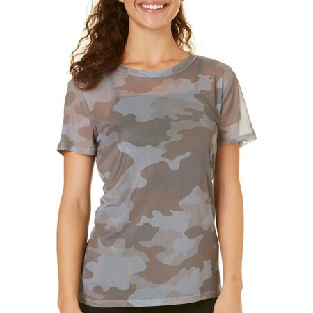Be Bop Juniors Camo Print Mesh Top