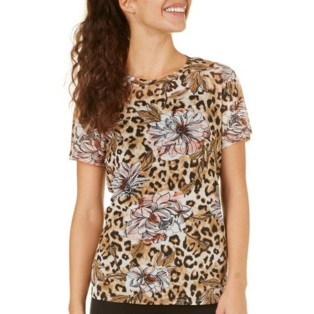 Be Bop Juniors Leopard & Floral Print Mesh