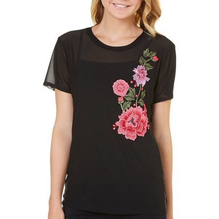 Be Bop Juniors Cami & Embroidered Rose Mesh