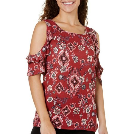 Be Bop Juniors Printed Flutter Cold Shoulder Top
