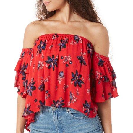 Be Bop Juniors Floral Off Shoulder High-Low Top