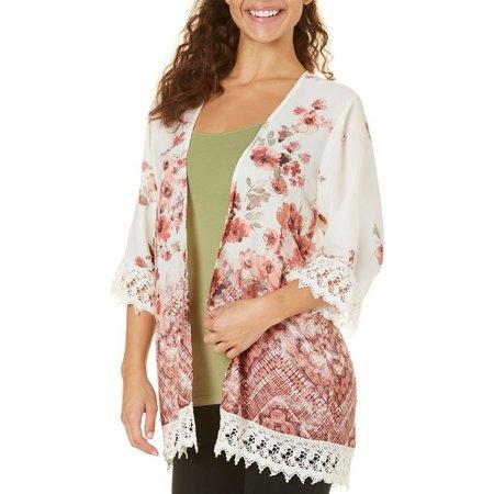 Be Bop Juniors Floral Geo Print Mix Kimono