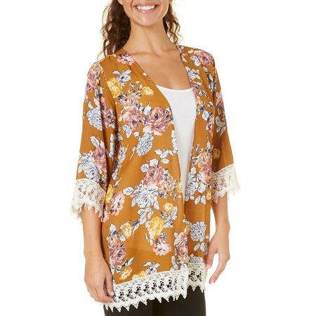 Be Bop Juniors Floral Open Front Kimono Jacket