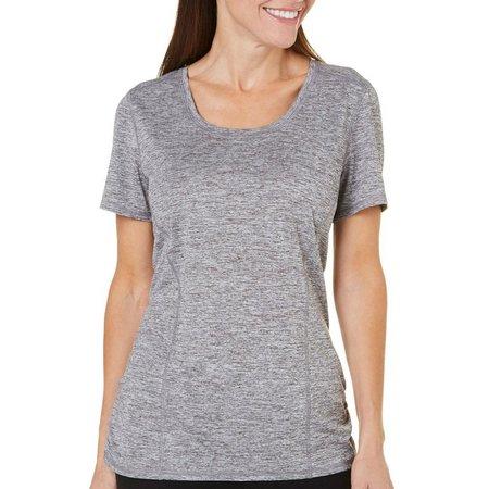 Brisas Womens Marled Knit Ruched T-Shirt