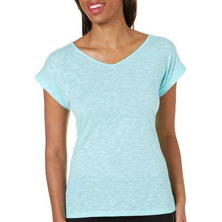 Brisas Womens Slub Knit Drop Shoulder T-Shirt