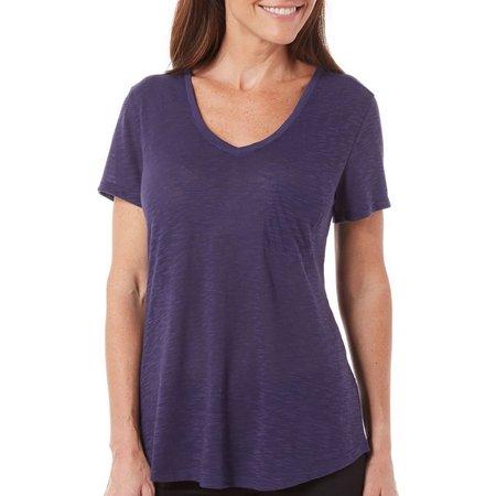 Brisas Womens Solid Slub Knit T-Shirt