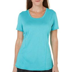 Brisas Womens Heathered Stripe Scoop Neck T-Shirt