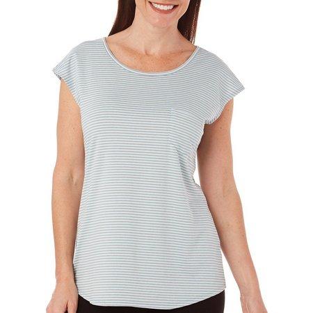 Brisas Womens Stripe Dolman Cap Sleeve Top