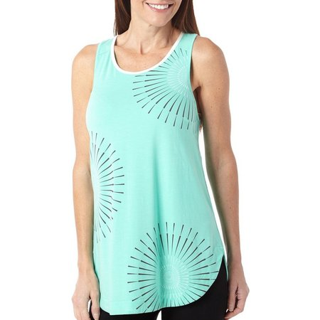Brisas Womens Graphic Print Cut Out Tank Top
