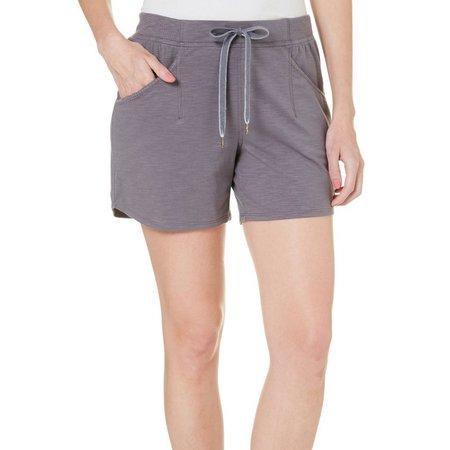 Brisas Womens Slub Knit Elastic Waist Shorts