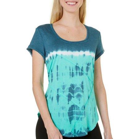 Brisas Womens Dip Dye Rounded Hem T-Shirt