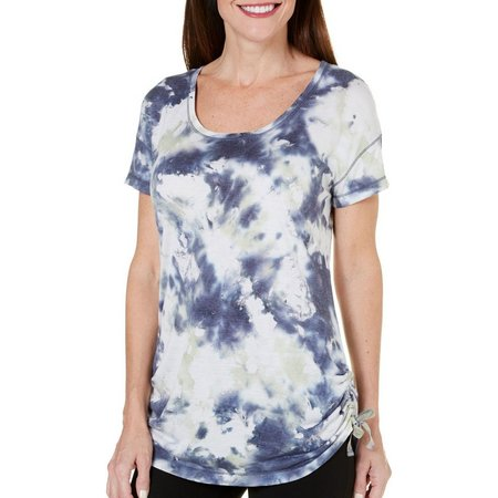 Brisas Womens Tie Dye Side Ruched Top
