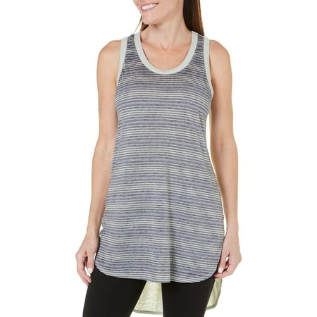 Brisas Womens Stripe Solid Back Tank Top