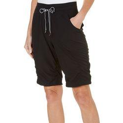 Brisas Womens Ruched Elastic Waist Bermuda Shorts