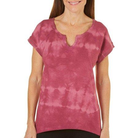 Brisas Womens Tie Dye Ribbed Trim Top