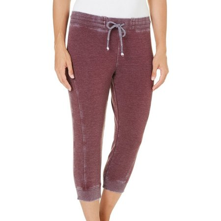 Brisas Womens Mineral Wash Side Seam Jogger Capris