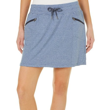Brisas Womens Striped Elastic Waist Skort