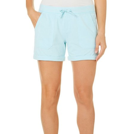 Brisas Womens Solid Ribbed Elastic Waist Cuffed Shorts
