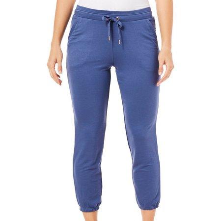 Brisas Womens Solid Banded Hem Jogger Pants