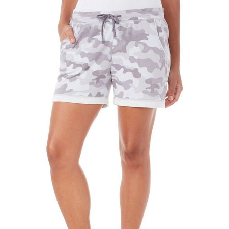 Brisas Womens Camo Print Elastic Waist Shorts