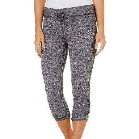 Brisas Womens Ruched Marled Knit Capris